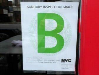 Higiene en los restaurantes de Nueva York - Grado B