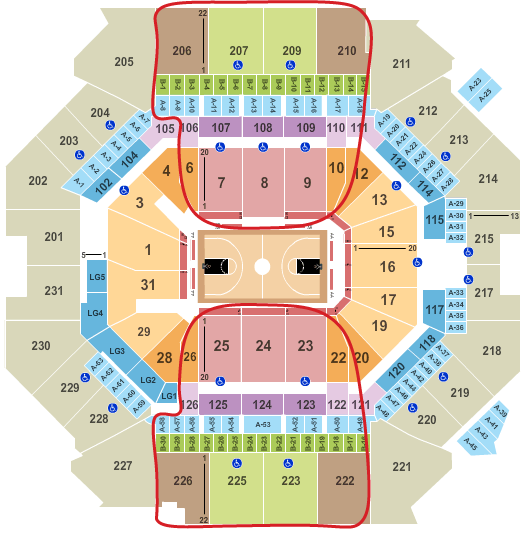 Tickets para los Brooklyn Nets - Plano del Barclays Center