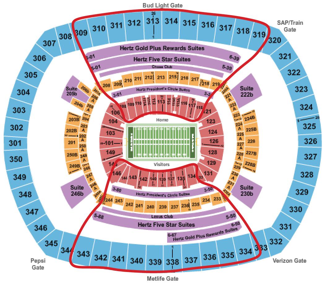 Tickets para los New York Giants - Plano del MetLife