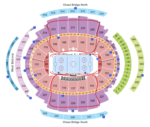 Tickets para los New York Rangers - Plano del Madison Square Garden