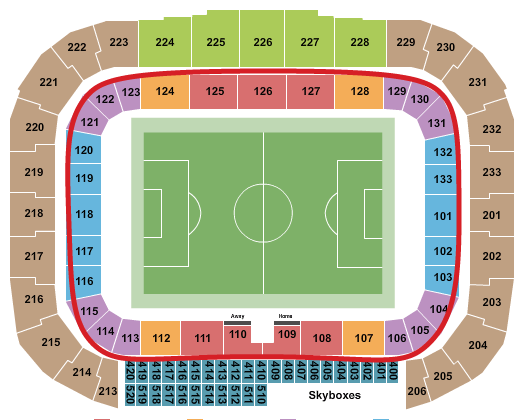 Tickets para los New York Red Bulls - Plano del Red Bull Arena