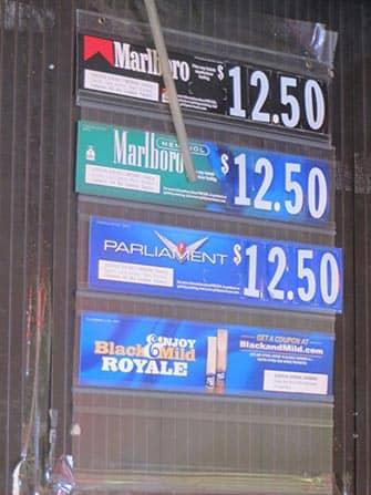 Fumar en Nueva York - precios