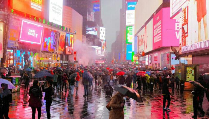 La lluvia en Nueva York - Times Square